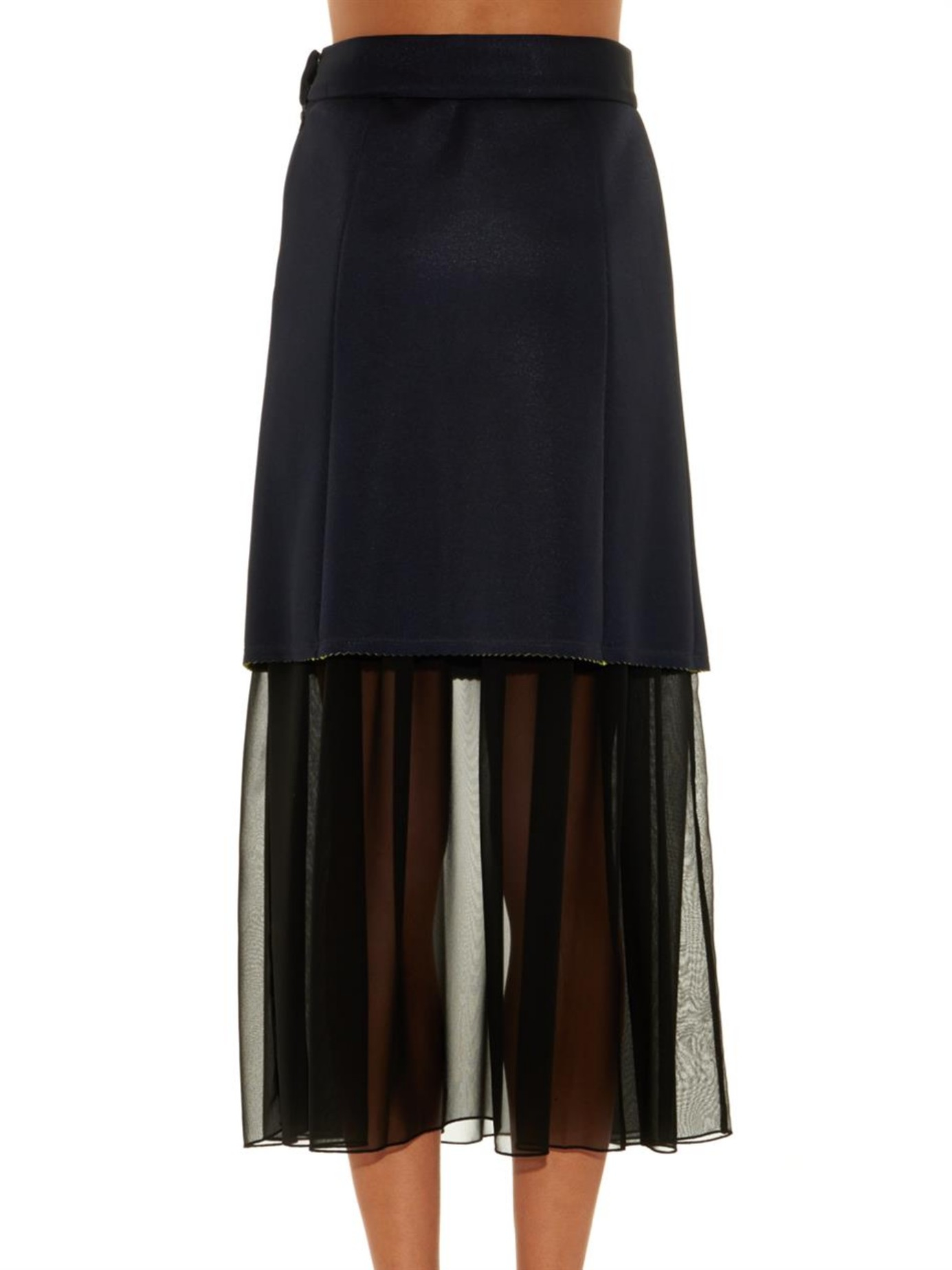 kolor scuba and chiffon layered skirt in blue lyst