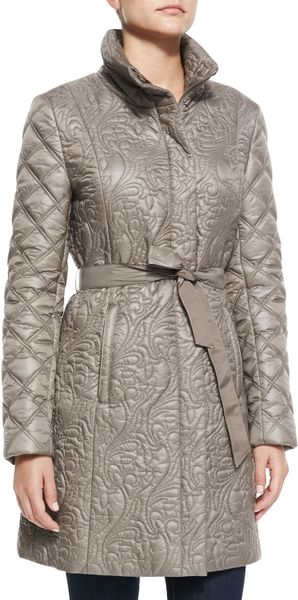 Burberry Brit Store A Milano : T tahari milano belted puffer jacket in gray black lyst