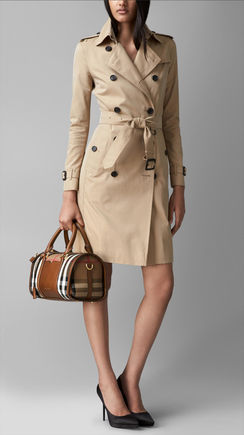 afd5c3749361 Lyst - Burberry The Medium Alchester In House Check And Leather in Brown