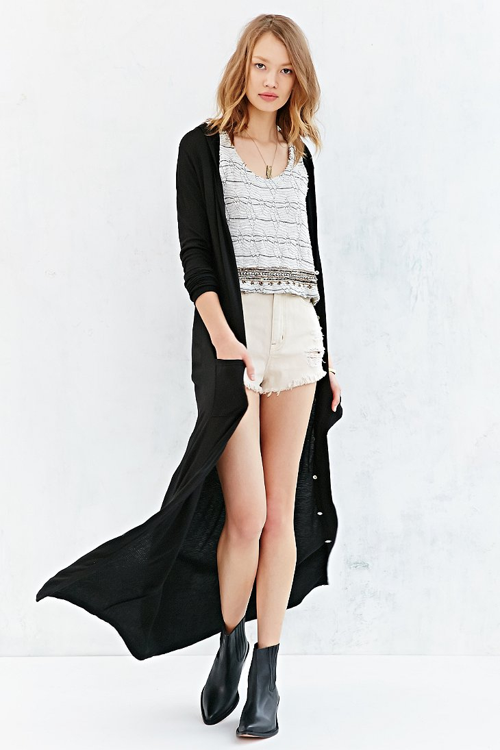 Ecote Easy Hooded Maxi Cardigan in Black | Lyst