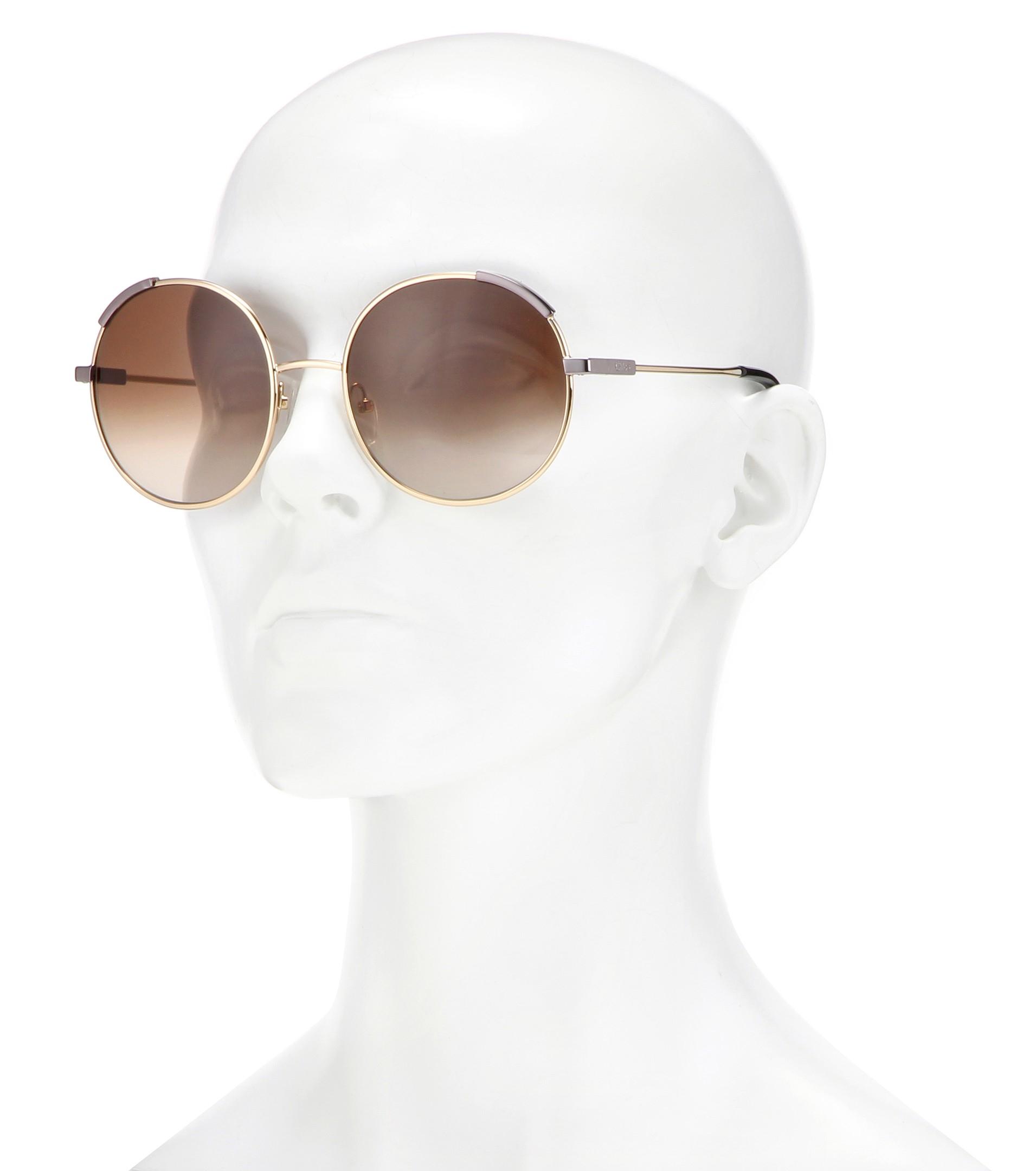 4dfe1028a282 Lyst - Chloé Eria Round Sunglasses in Natural