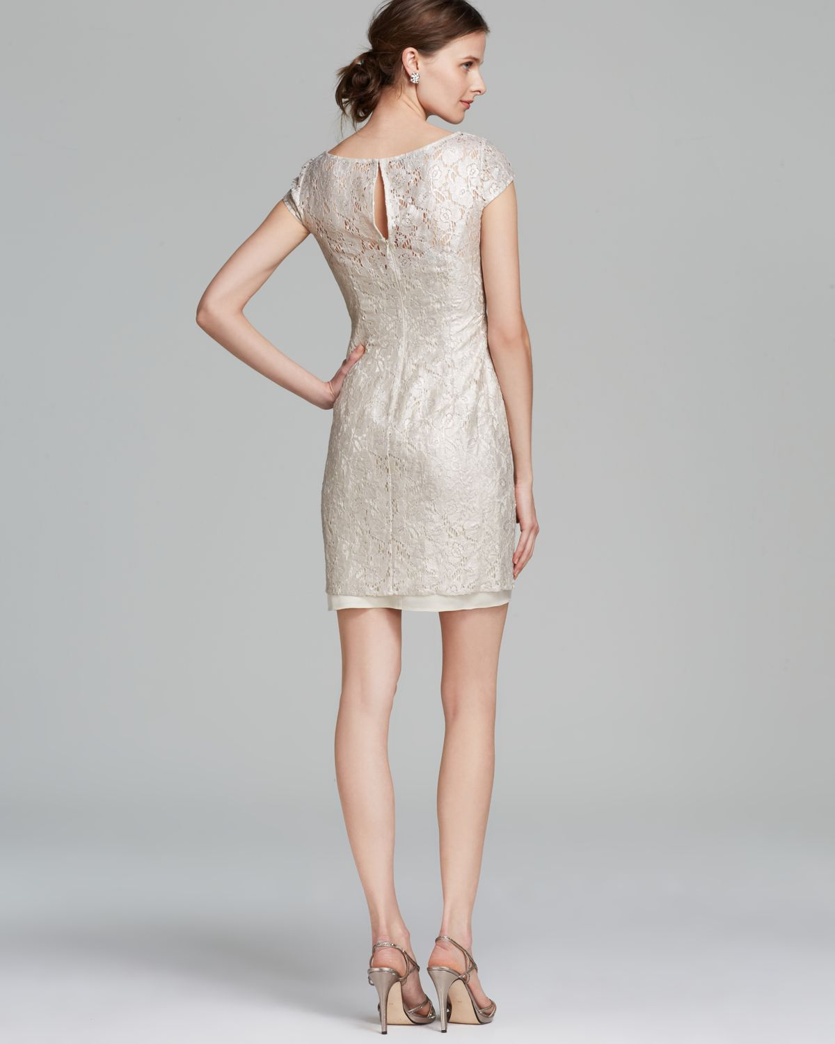 Lyst - Kay Unger Dress Cap Sleeve Metallic Lace Sheath in Natural