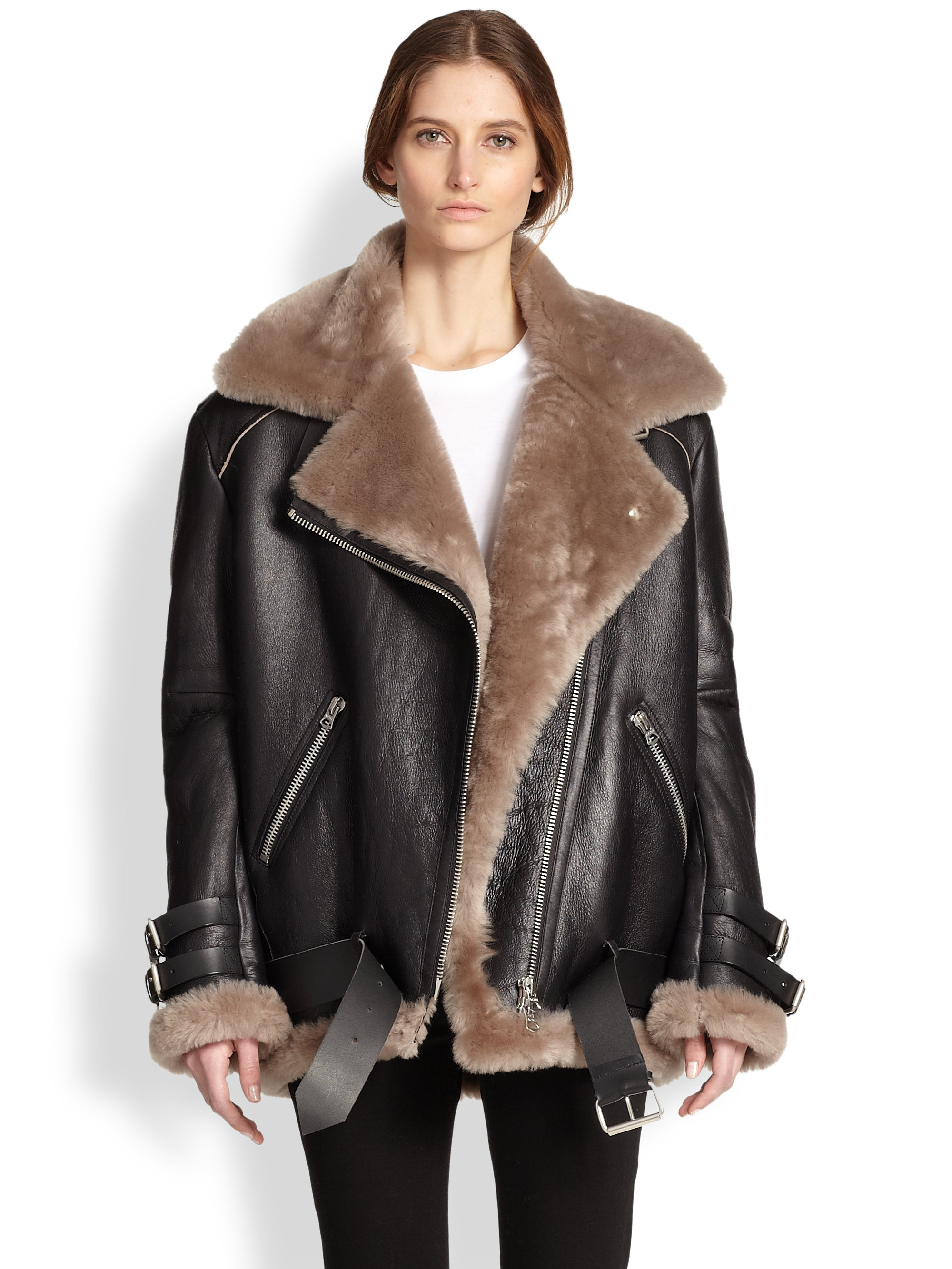 Acne studios Velocite Oversized Leather & Lamb Shearling Moto ...