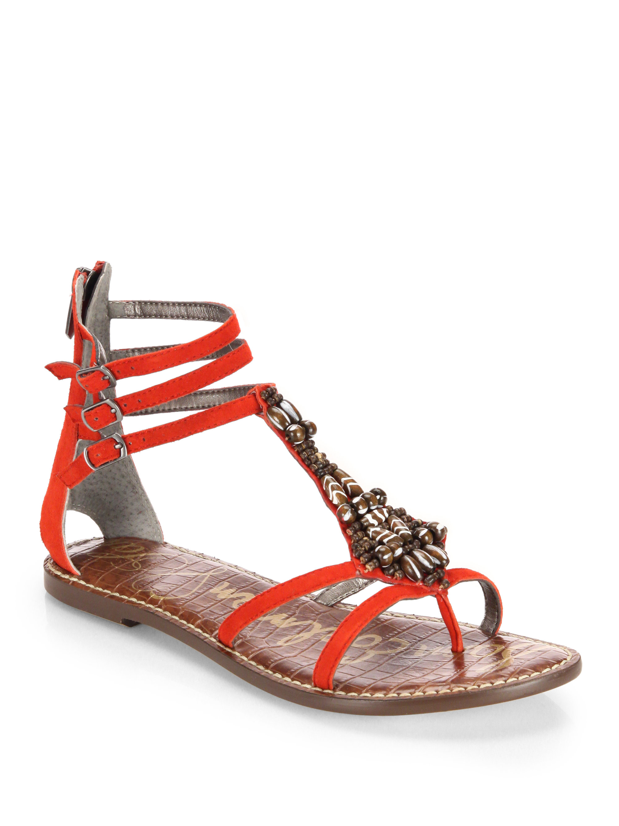 Lyst Sam Edelman Giada Beaded Leather Sandals In Red