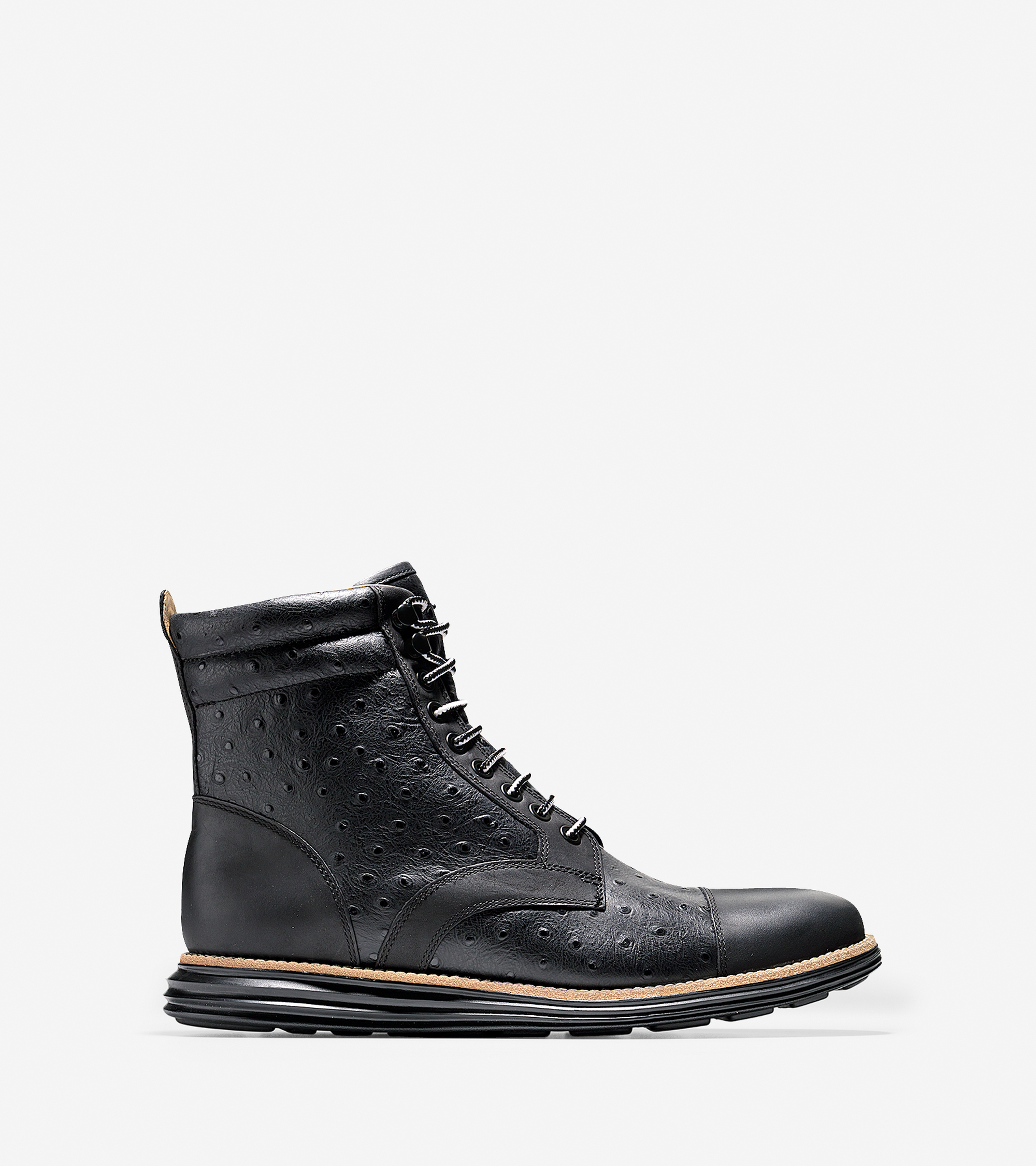 cole haan lunargrand padded collar lace boot in black for