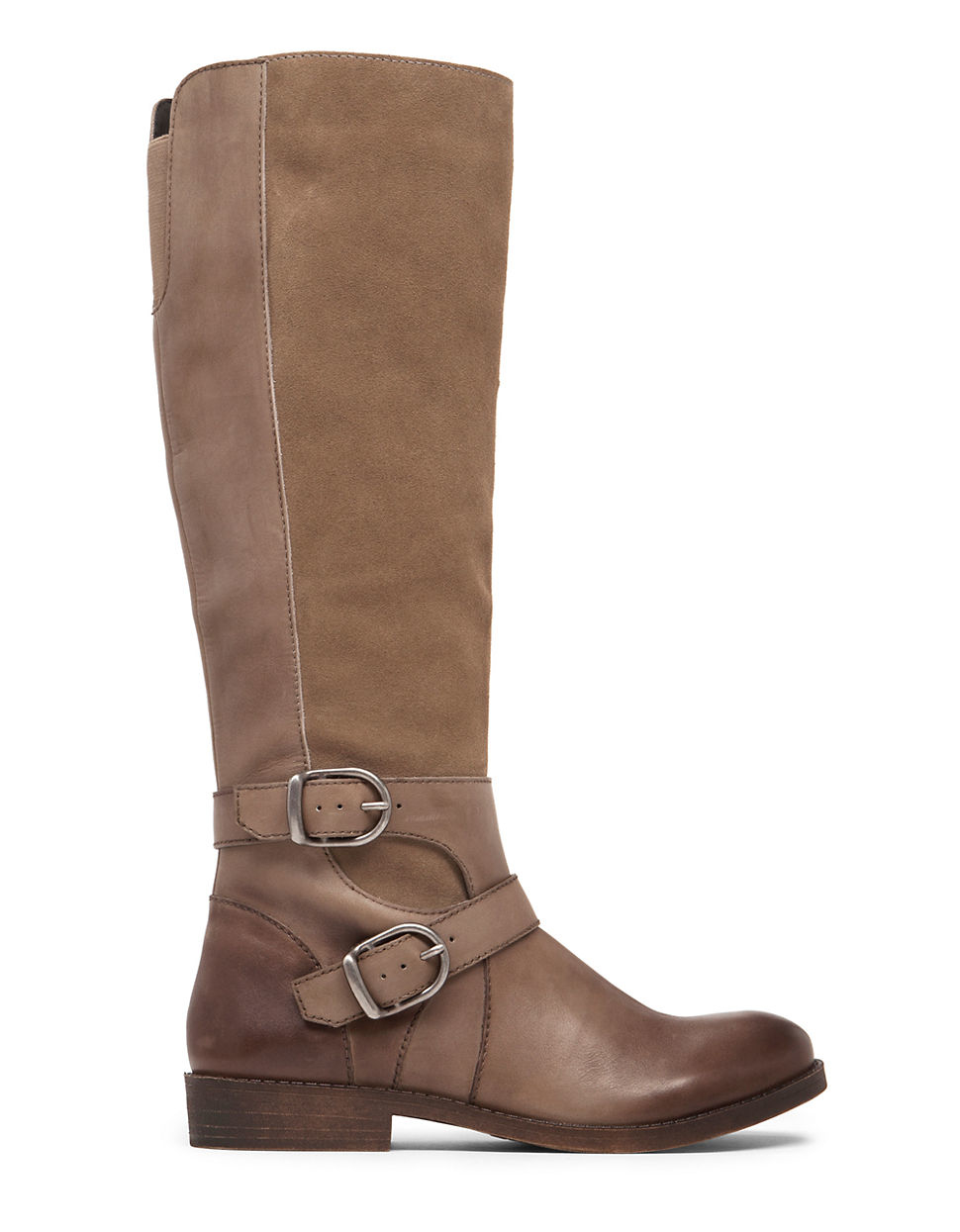 lucky brand zatchi leather and suede knee boots in brown
