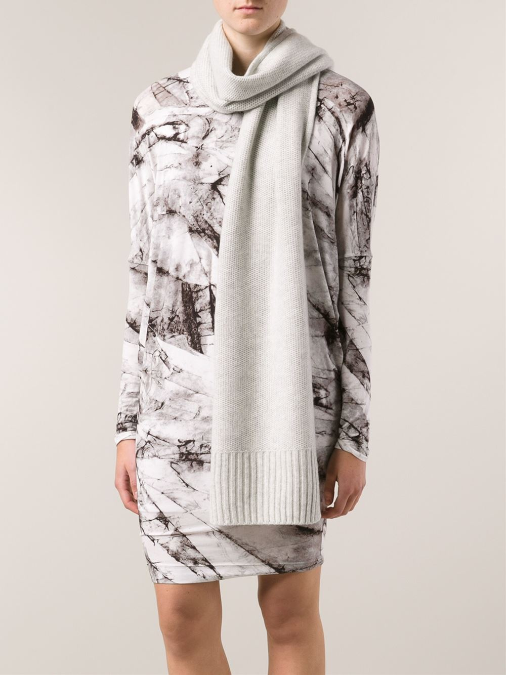 rag bone ribbed scarf in gray lyst