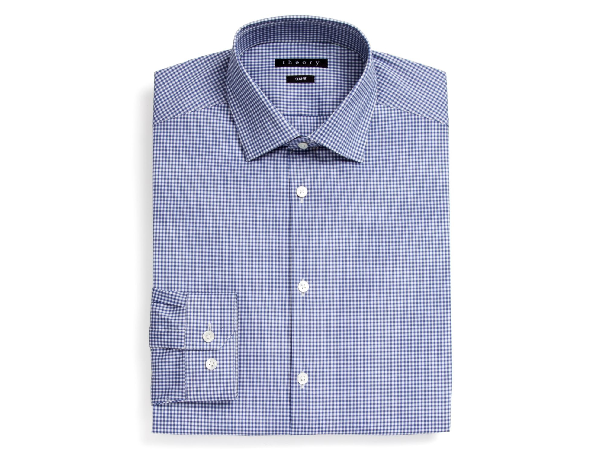 Lyst theory sheldon gingham check dress shirt slim fit for Blue check dress shirt