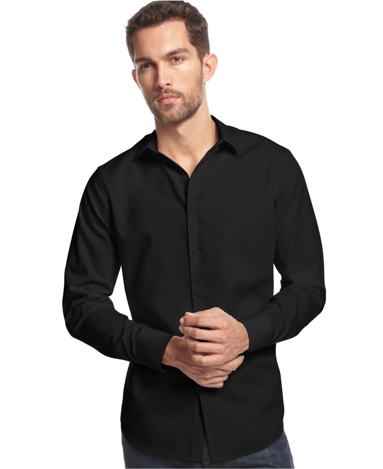 Inc international concepts no iron shirt in black for men for No iron dress shirts for men