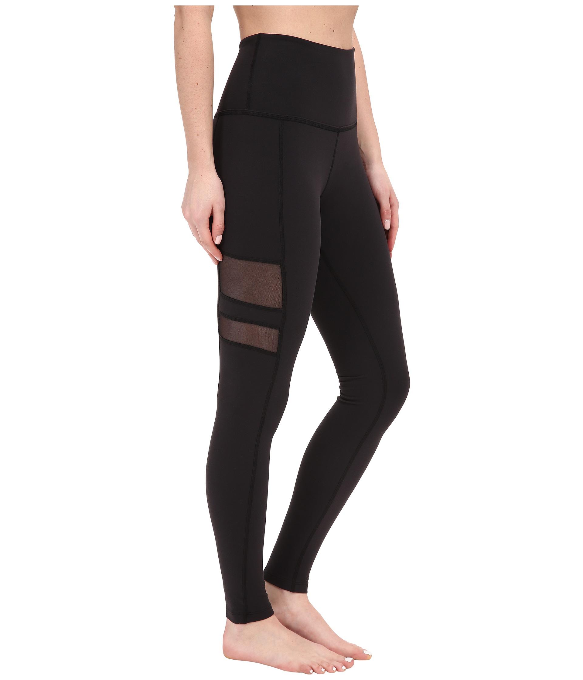 Beyond yoga High Waist Stripe Mesh Long Leggings in Black | Lyst