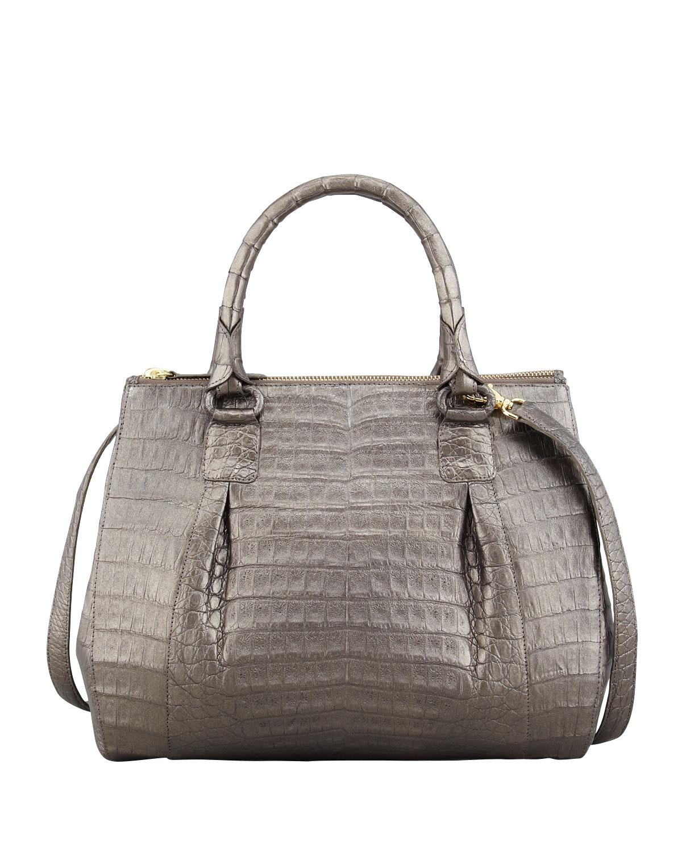 Nancy gonzalez double zip crocodile tote bag in gray lyst for Nancy gonzalez crocodile tote