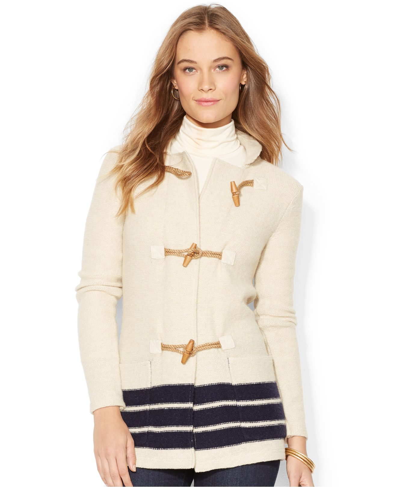 Lauren by ralph lauren Petite Striped Toggle-Close Sweater Coat in ...
