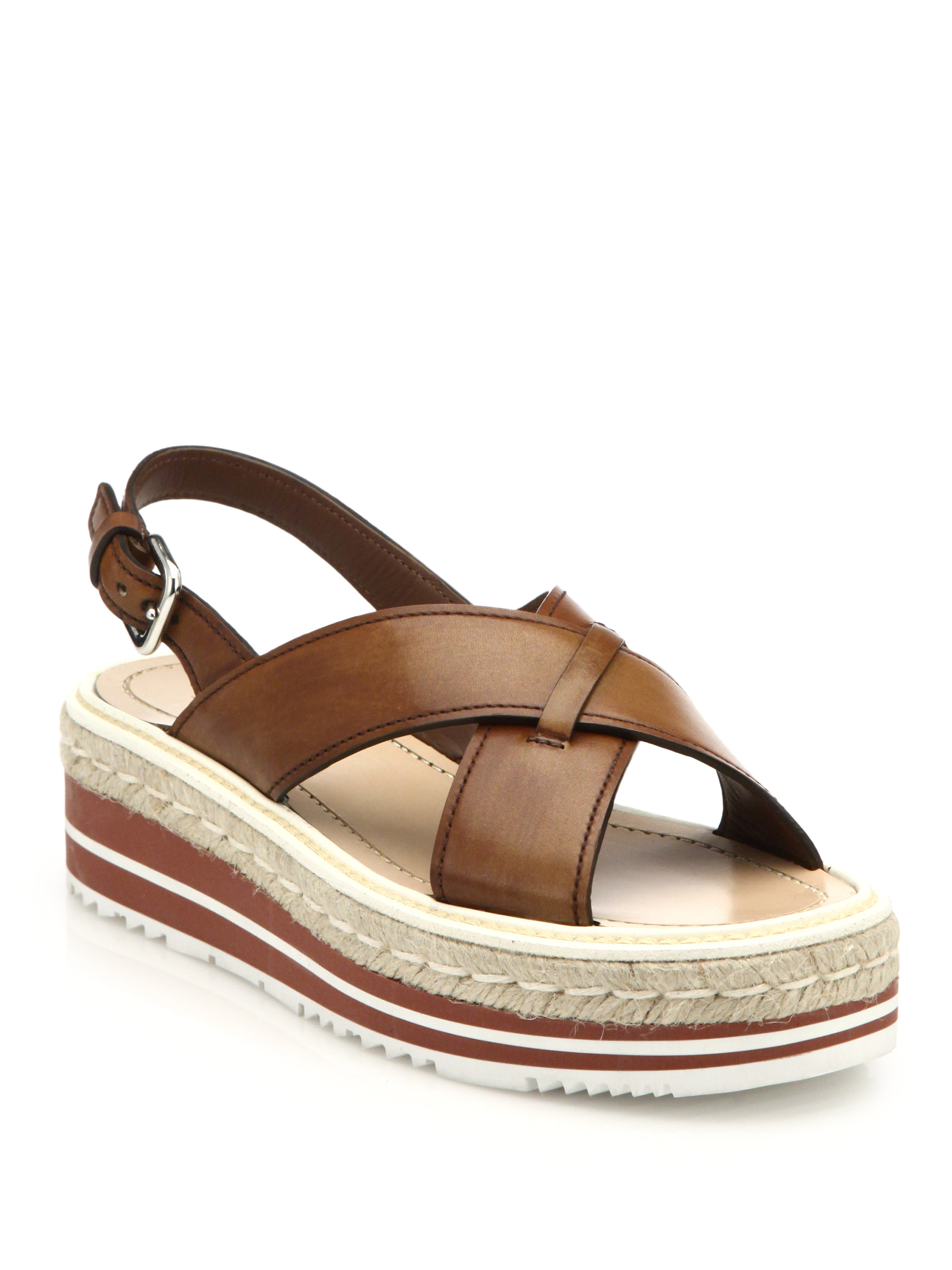 Prada Espadrille Amp Rubber Sole Leather Sandals In Brown Lyst
