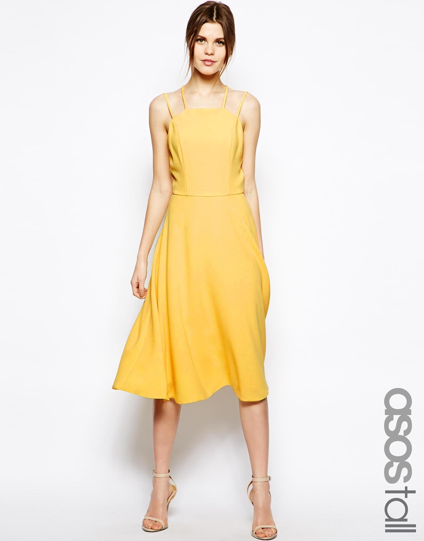 fc2278fe783d Lyst - ASOS Summer Picnic Strappy Midi Dress in Yellow