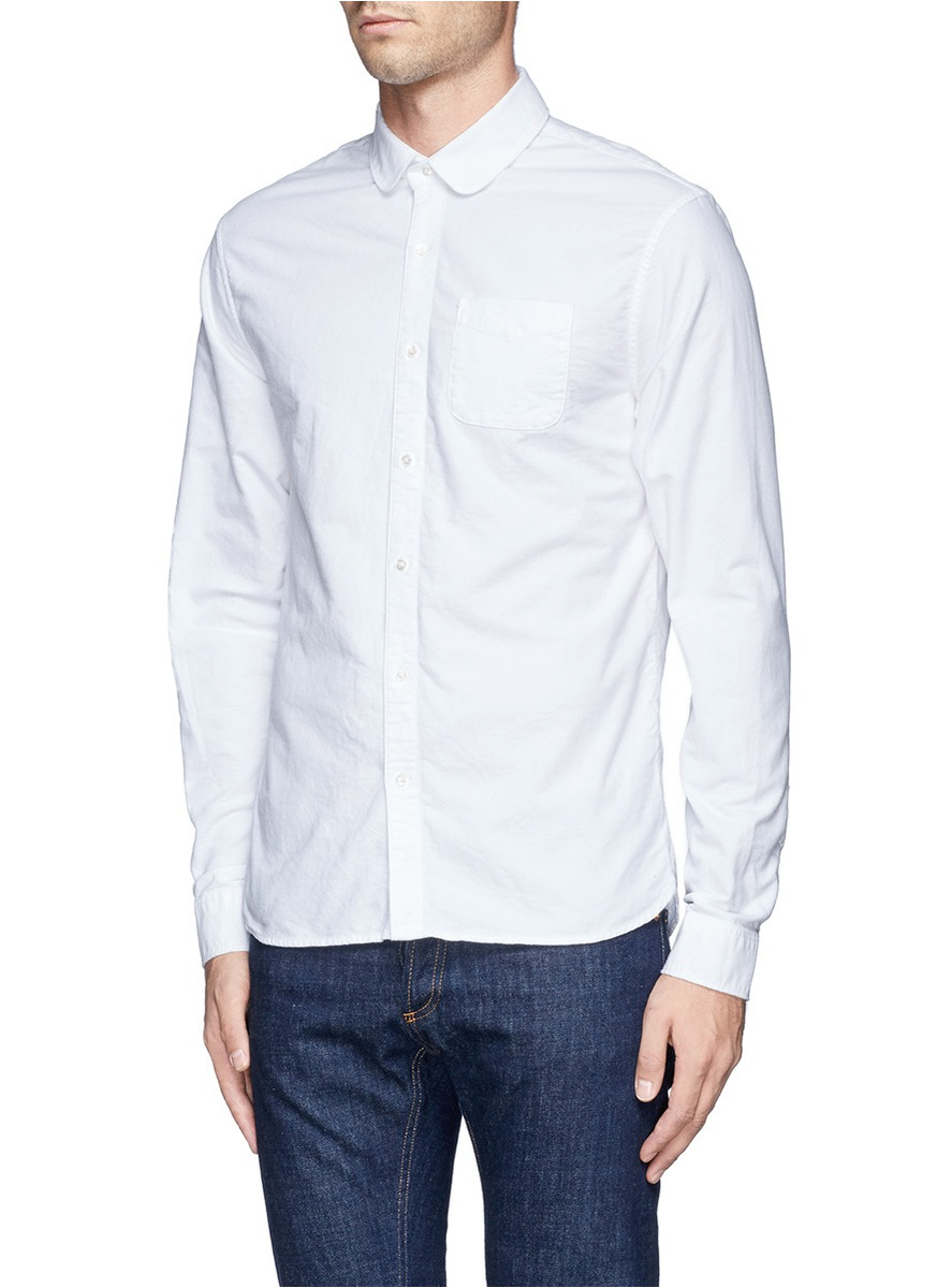 Lyst scotch soda flannel round collar shirt in white for Round collar shirt men