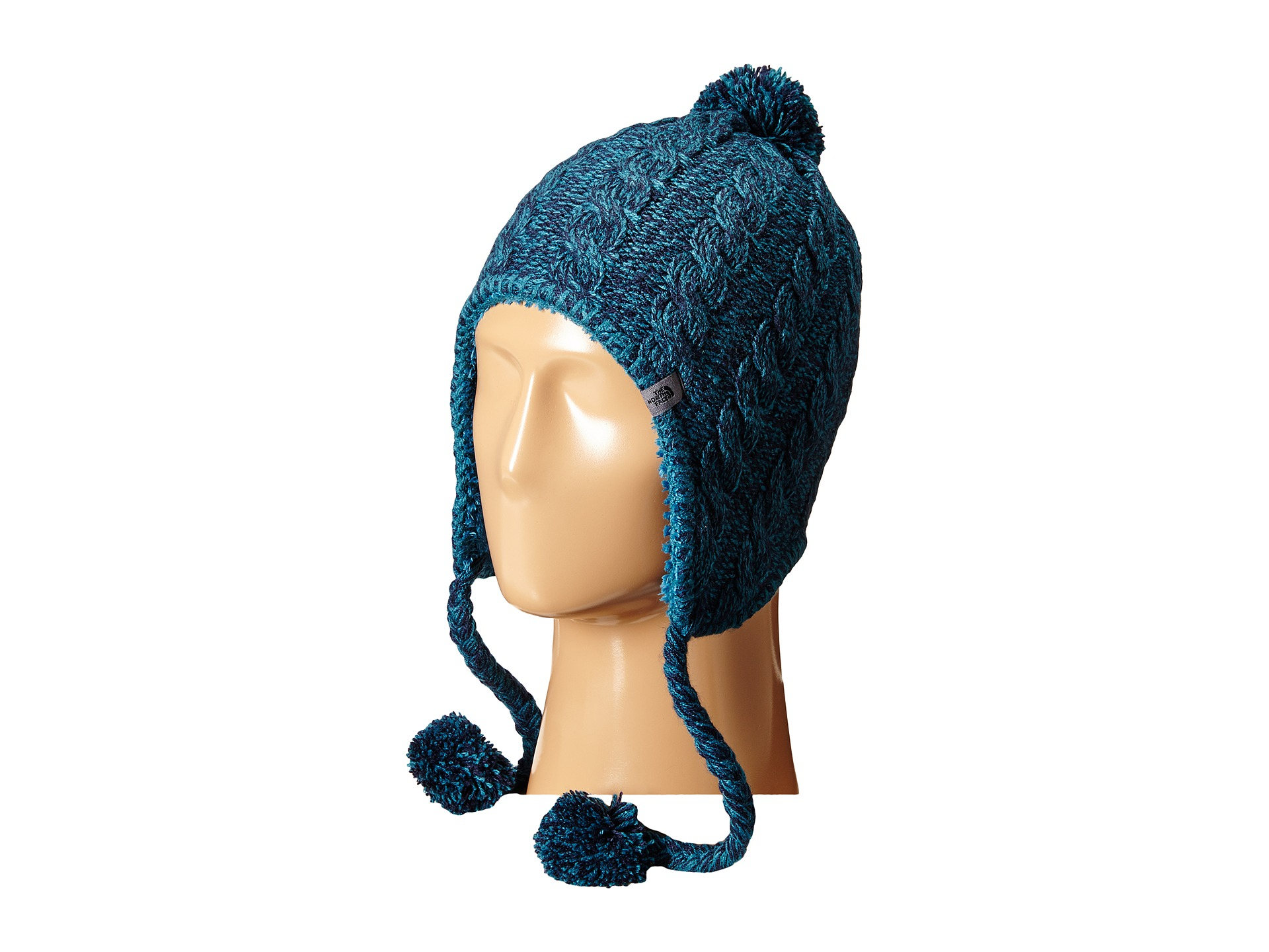 low priced 9b101 3442f The North Face Fuzzy Earflap Beanie in Blue - Lyst