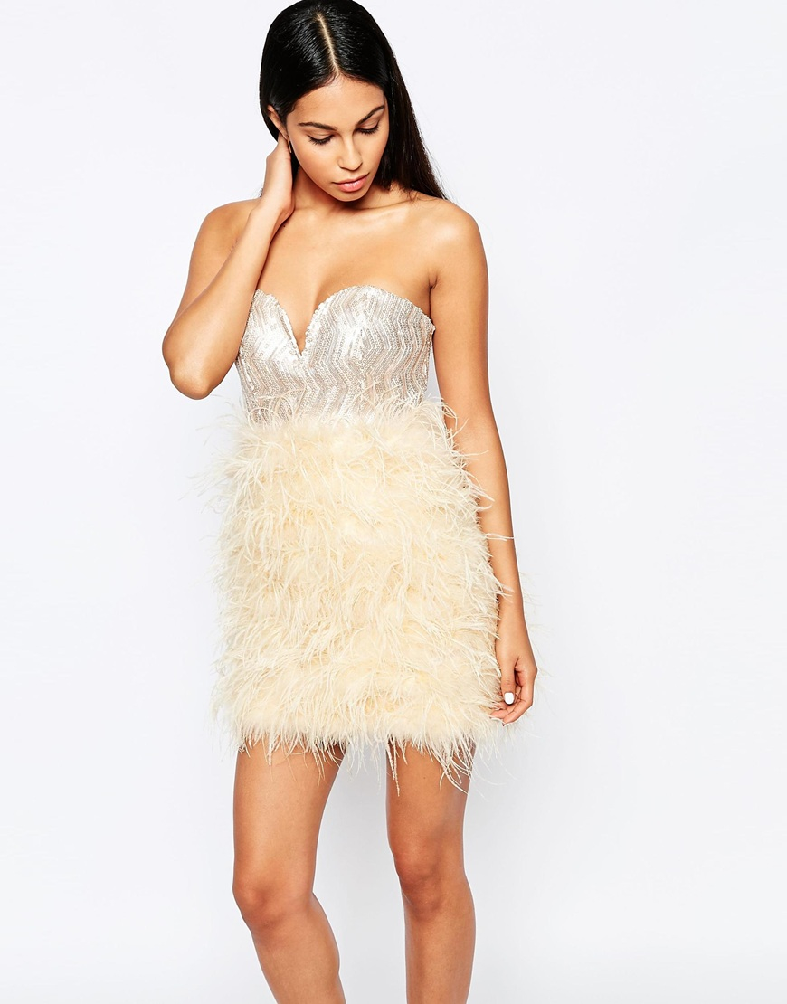 Rare opulence Sequin Bust Dress With Feather Skirt in Natural - Lyst