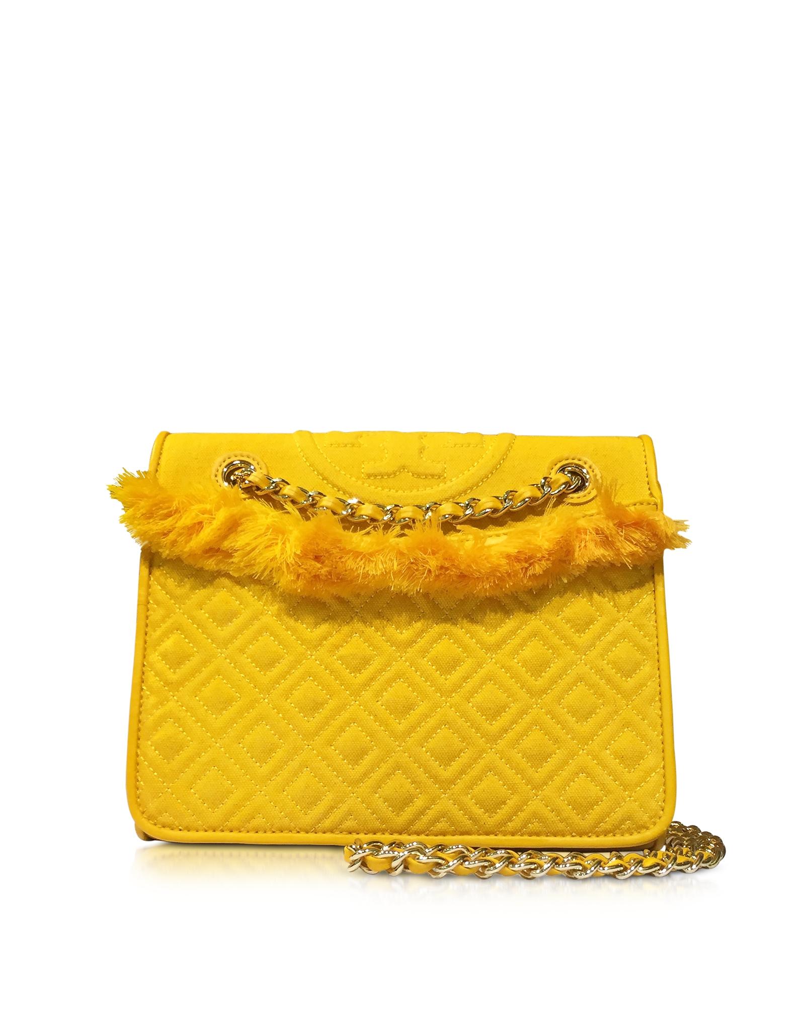 fff62236a98 Lyst - Tory Burch Fleming Cotton Medium Bag in Yellow