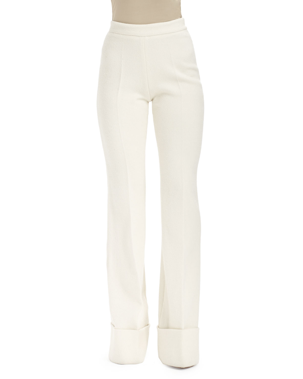 Stella mccartney High-waisted Cuffed Wide-leg Pants in White | Lyst