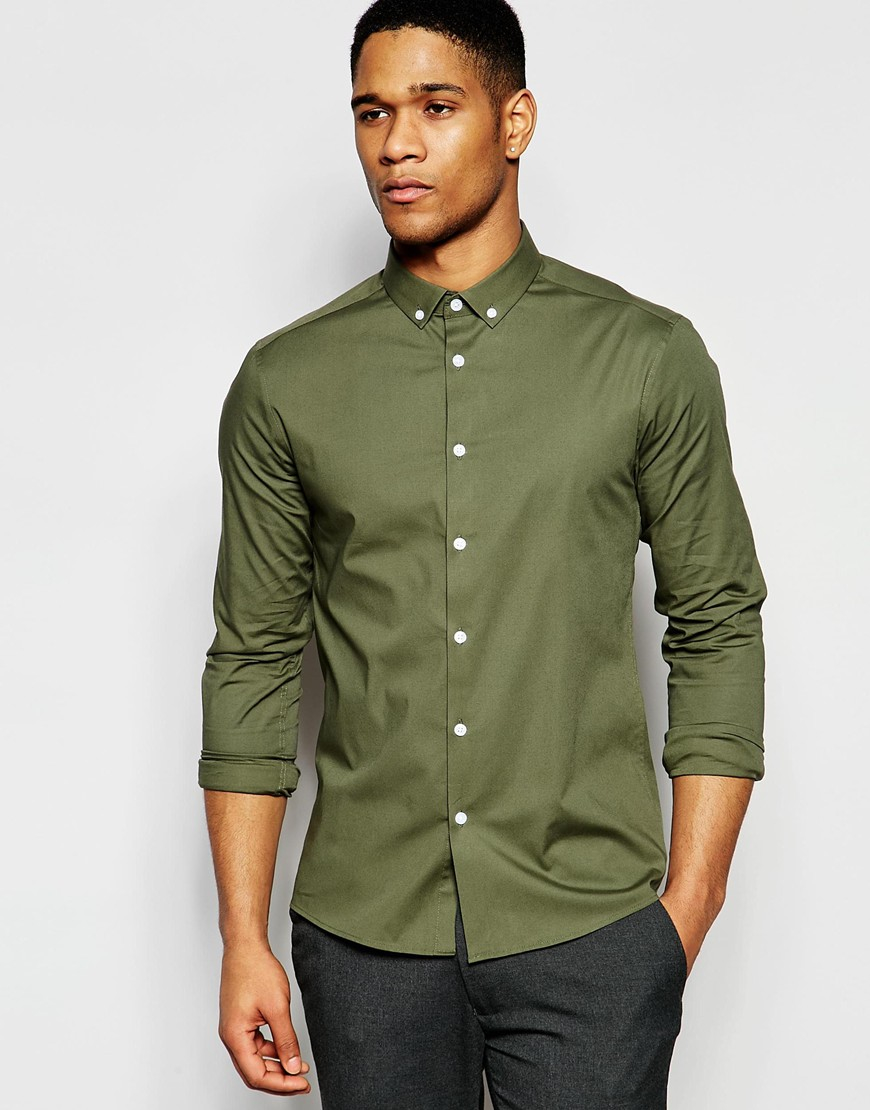 Lyst - Asos Skinny Shirt In Dusty Olive With Button Down Collar in ...