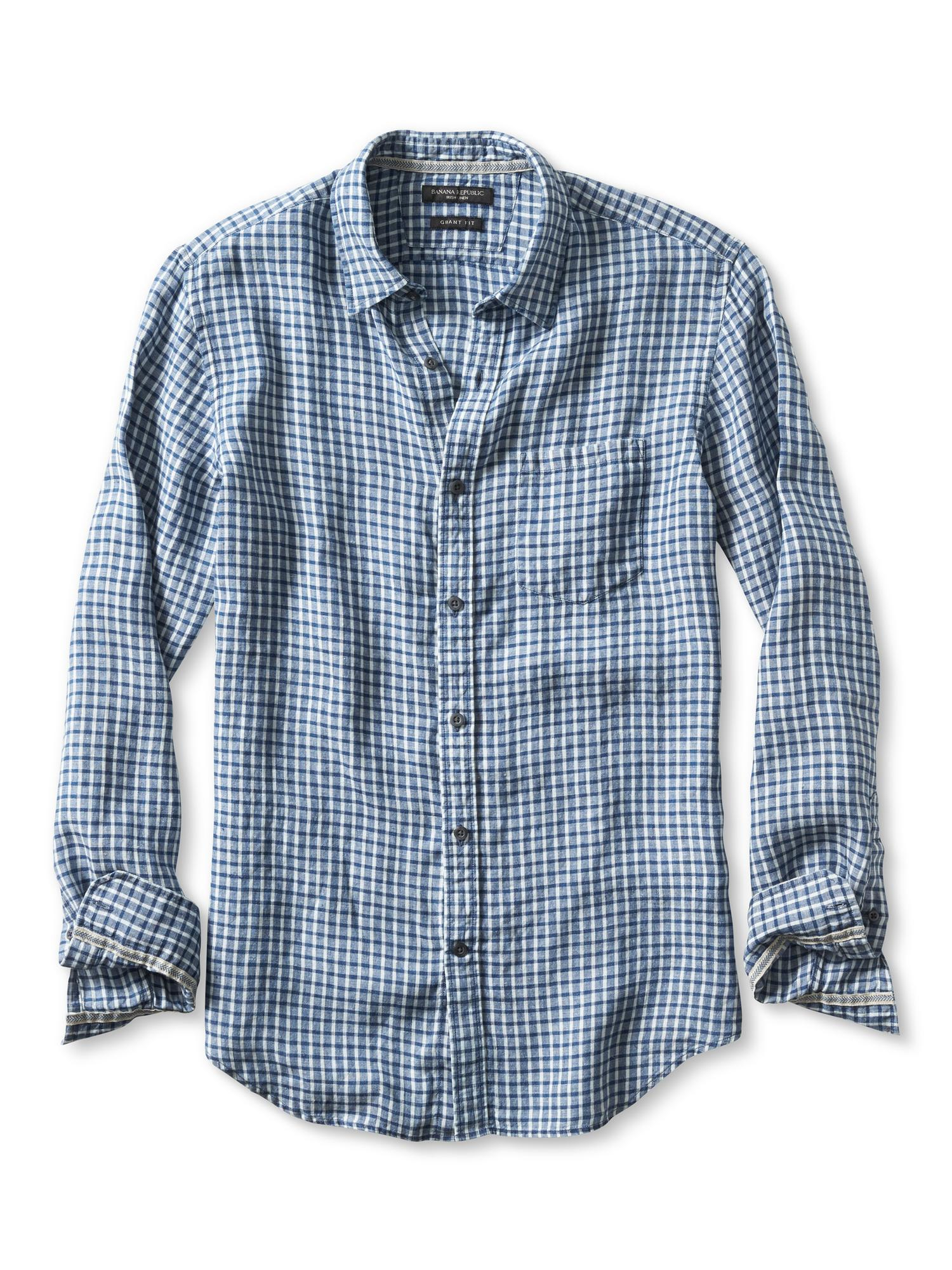Banana republic grant fit micro plaid irish linen shirt in for Irish linen dress shirts