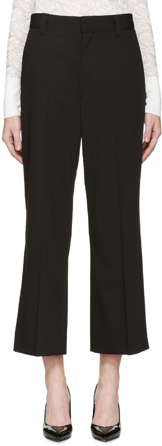 Marc jacobs Black Gabardine Cropped Flared Trousers in ...