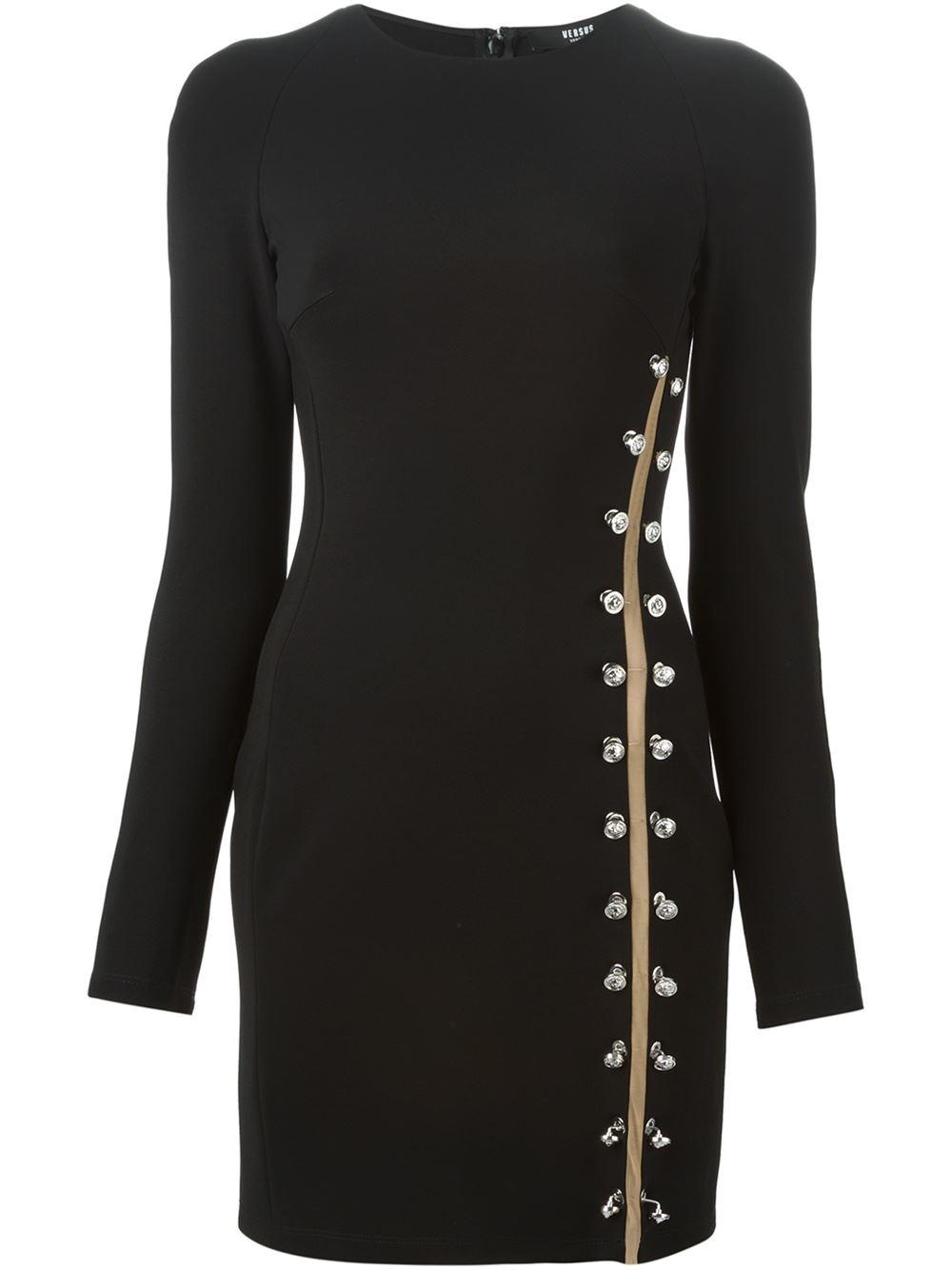 versus safety pin dress in black lyst. Black Bedroom Furniture Sets. Home Design Ideas