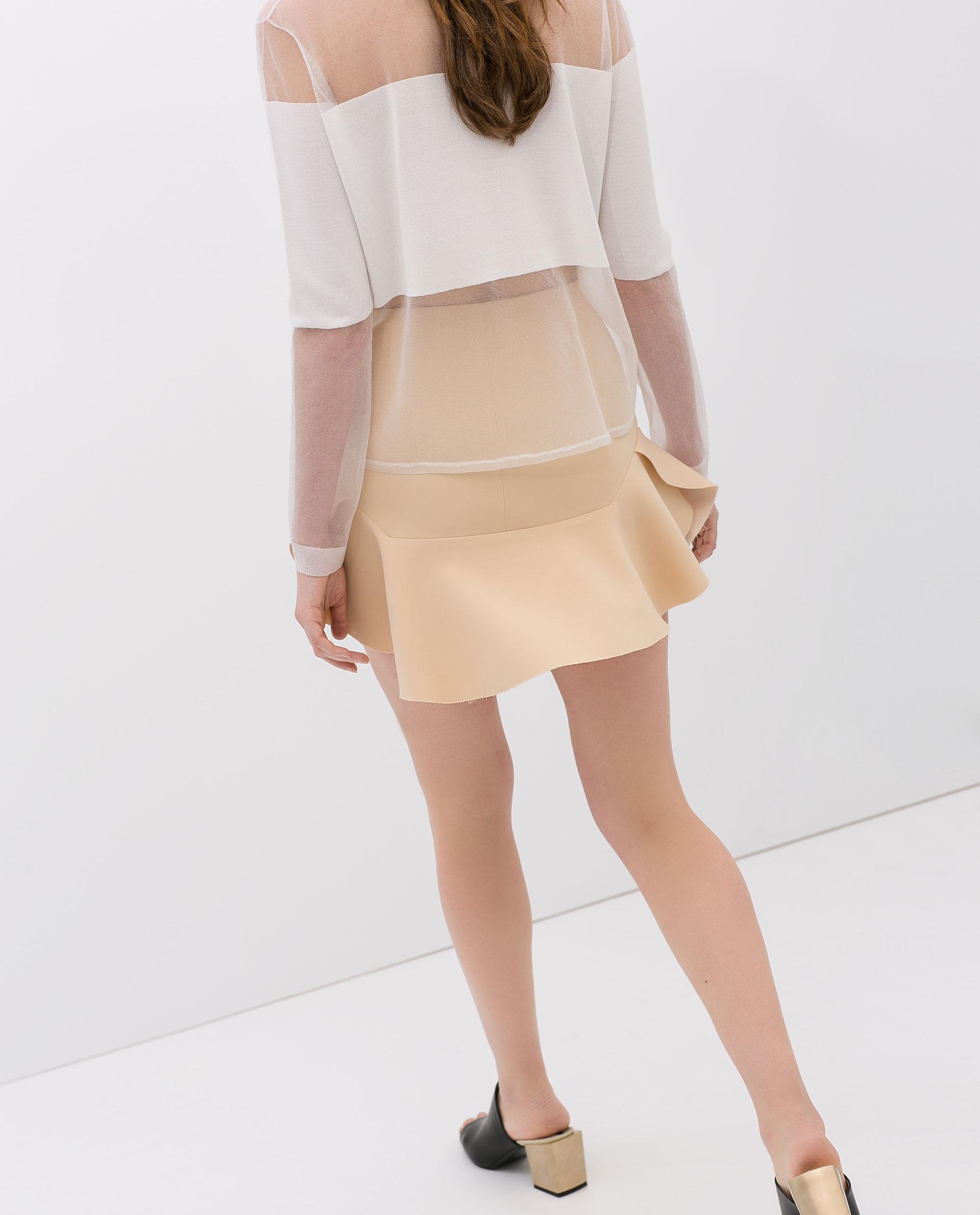 Zara Flared Seamed Mini Skirt in Natural   Lyst