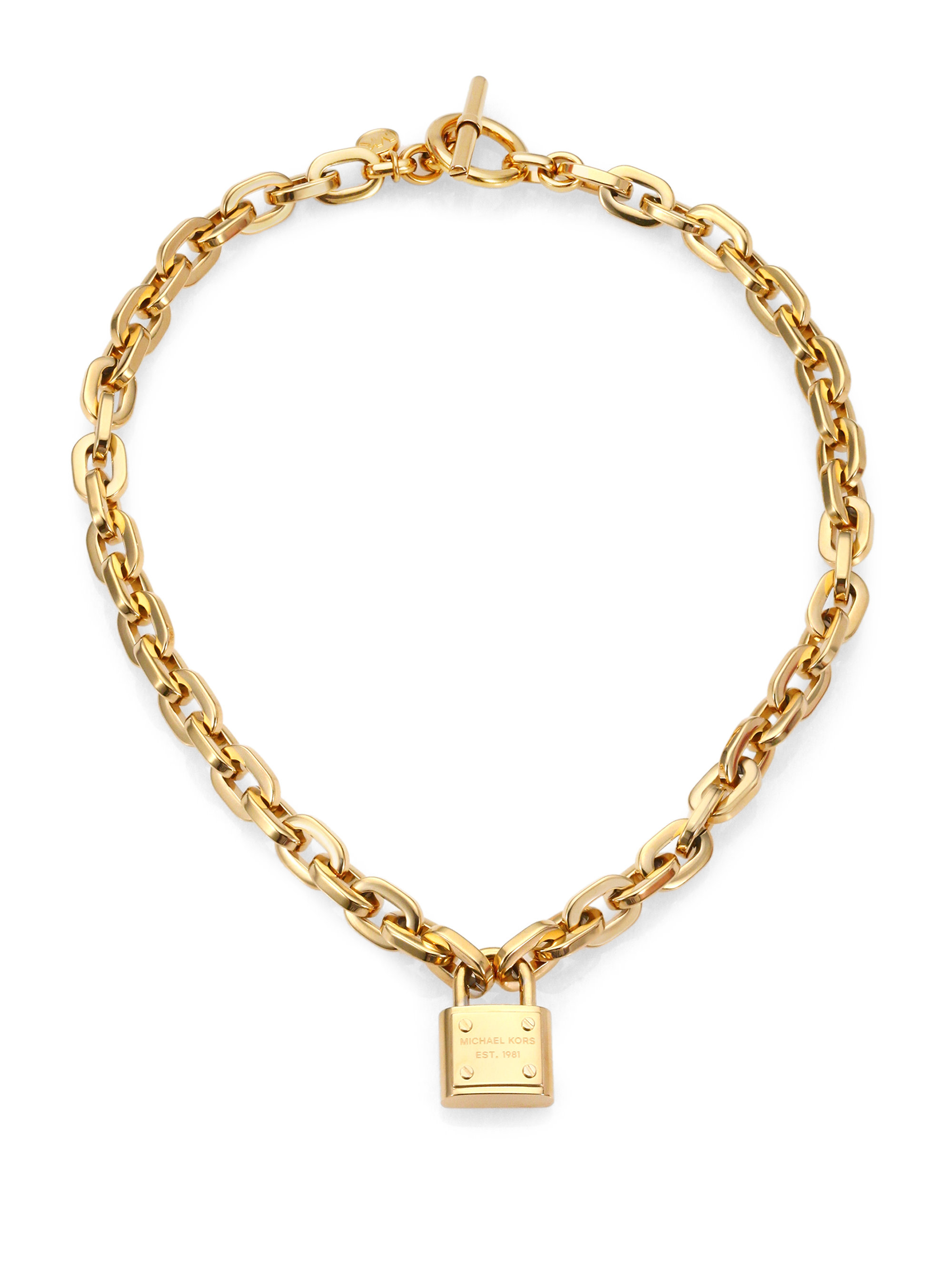 Michael kors padlock charm necklace goldtone in metallic for Michael b jewelry death