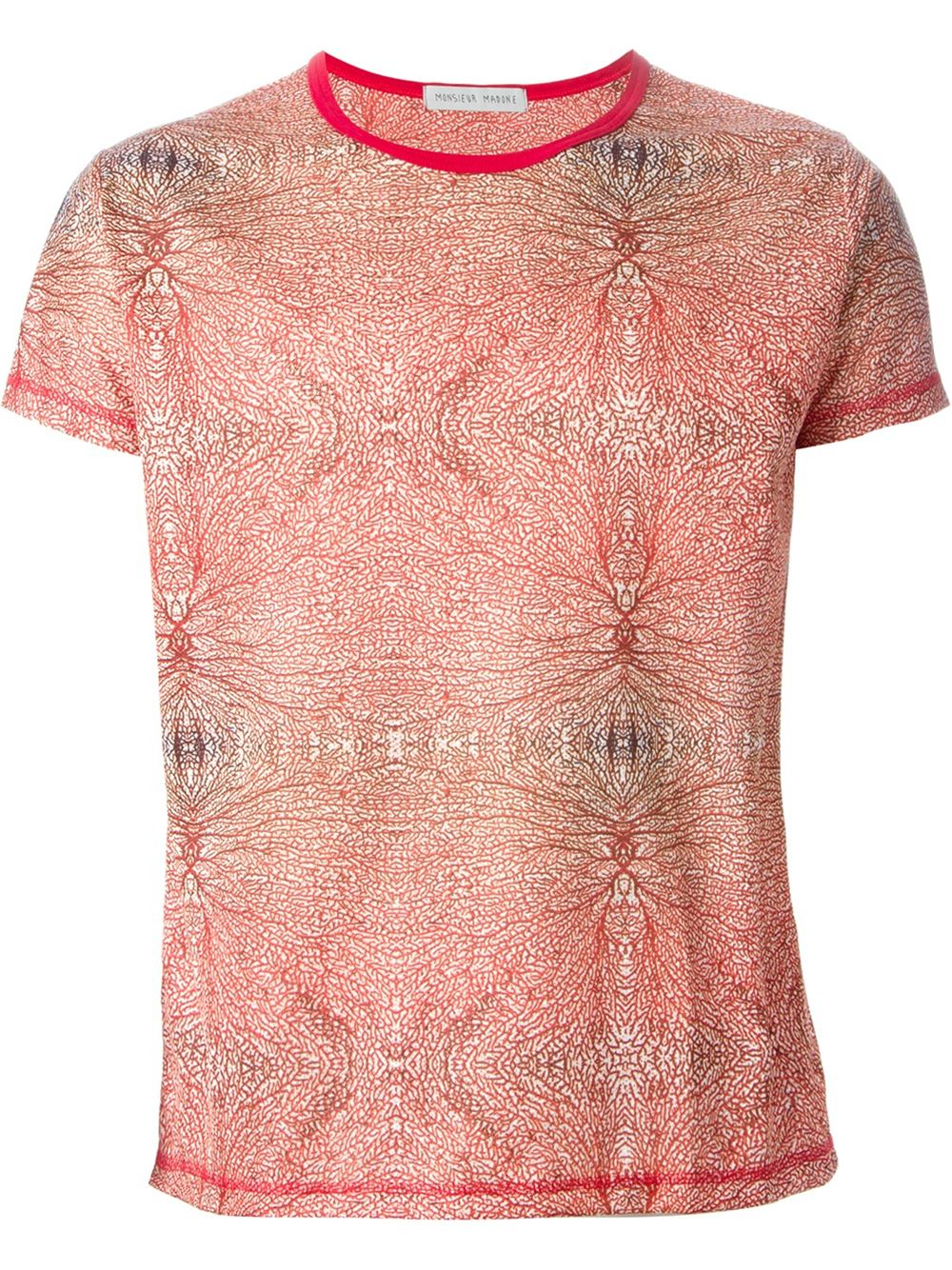 Monsieur Madone Coral Print T Shirt In Red For Men Lyst