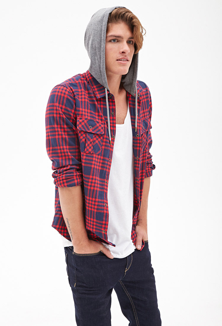Forever 21 Flannel Hoodie Jacket In Red For Men | Lyst