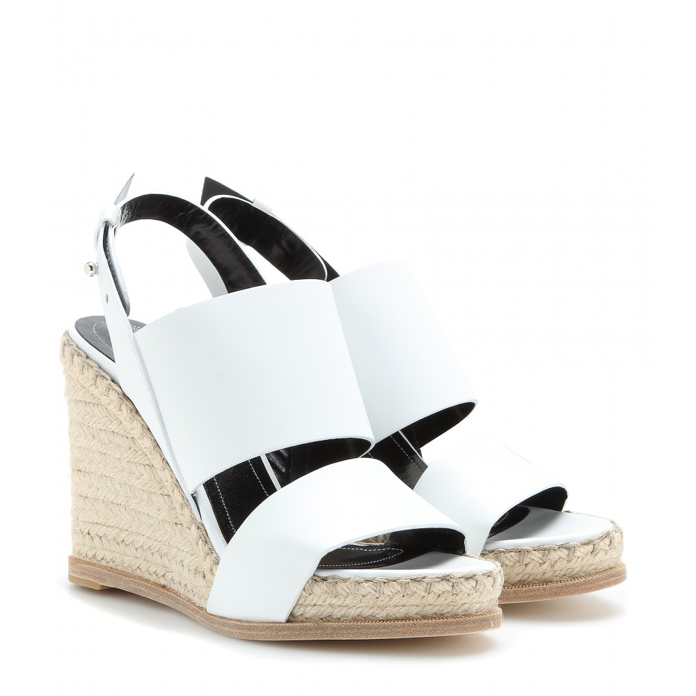 f1ee2ecf2d6e Lyst - Balenciaga Leather Espadrille Wedge Sandals in White