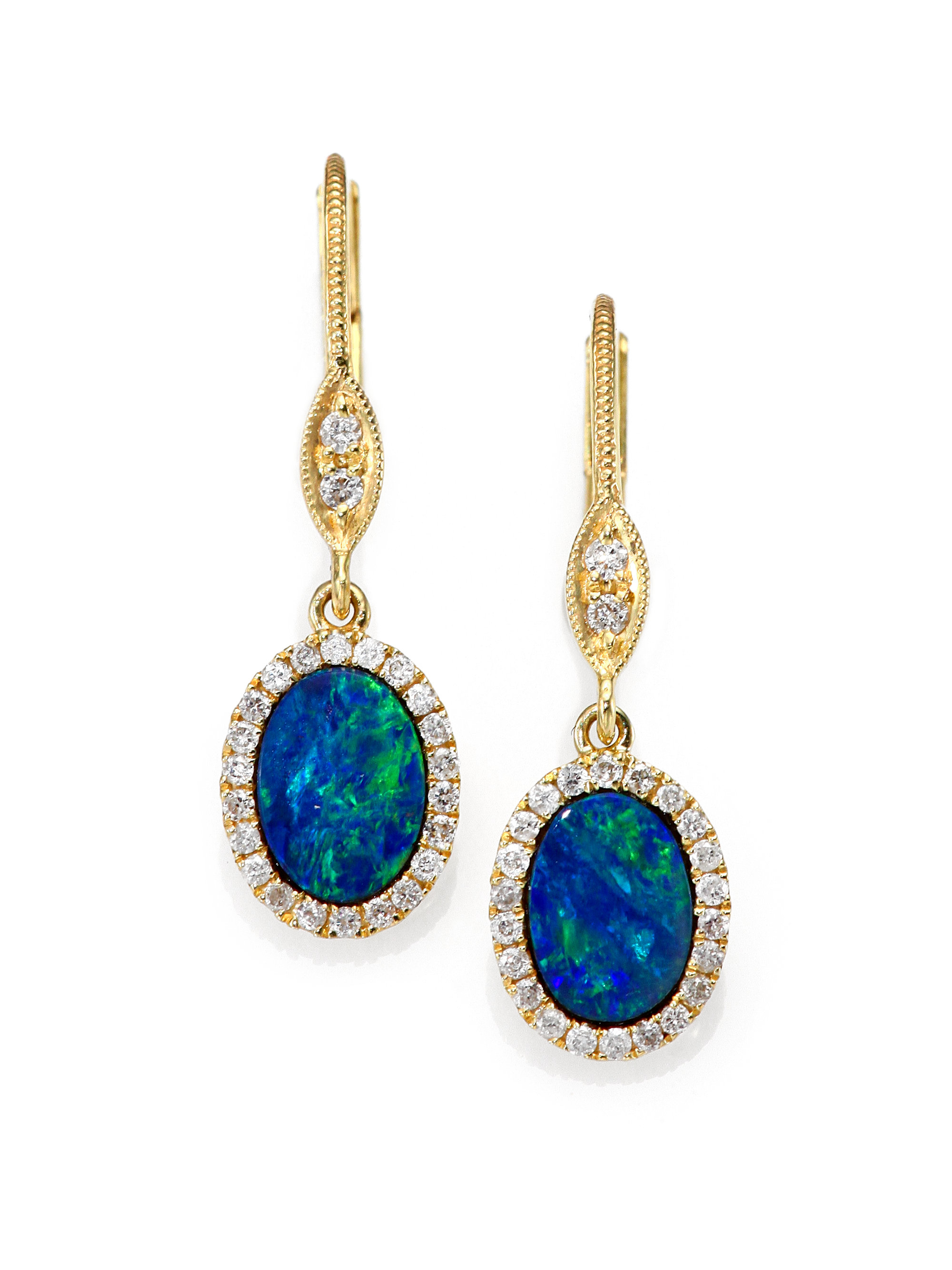 meira t blue opal diamond 14k yellow gold drop earrings. Black Bedroom Furniture Sets. Home Design Ideas