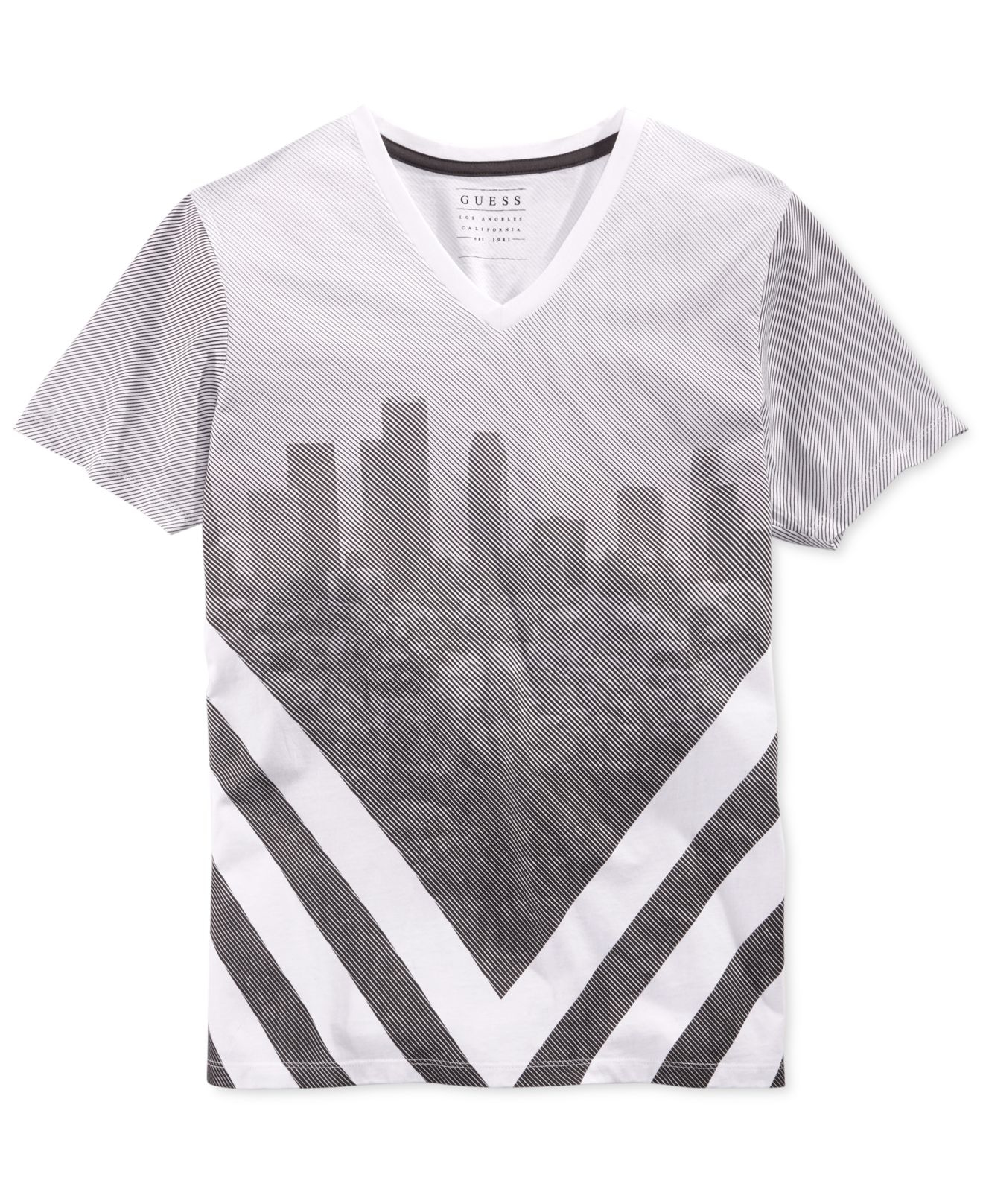 af6e9334 Guess Men's Chevron City Graphic-print V-neck T-shirt in White for ...