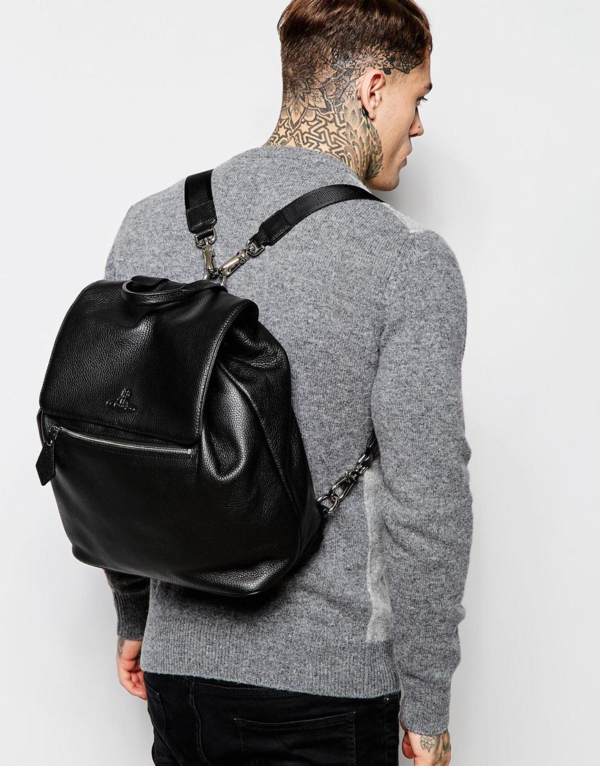 Vivienne westwood Leather Backpack in Black for Men | Lyst