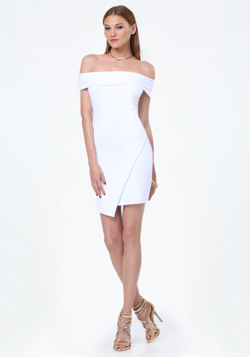 2da767e5702 Bebe Off Shoulder Dress in White - Lyst
