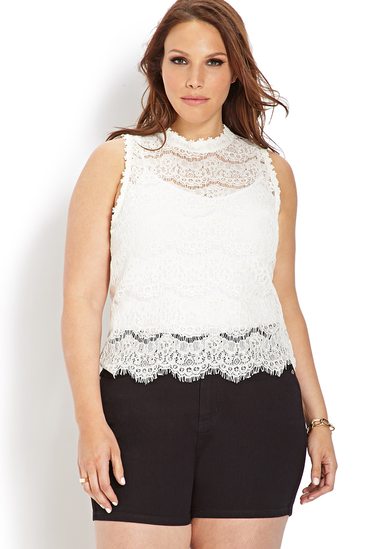 Forever 21 Plus Size Enchanted Floral Lace Top In White Lyst