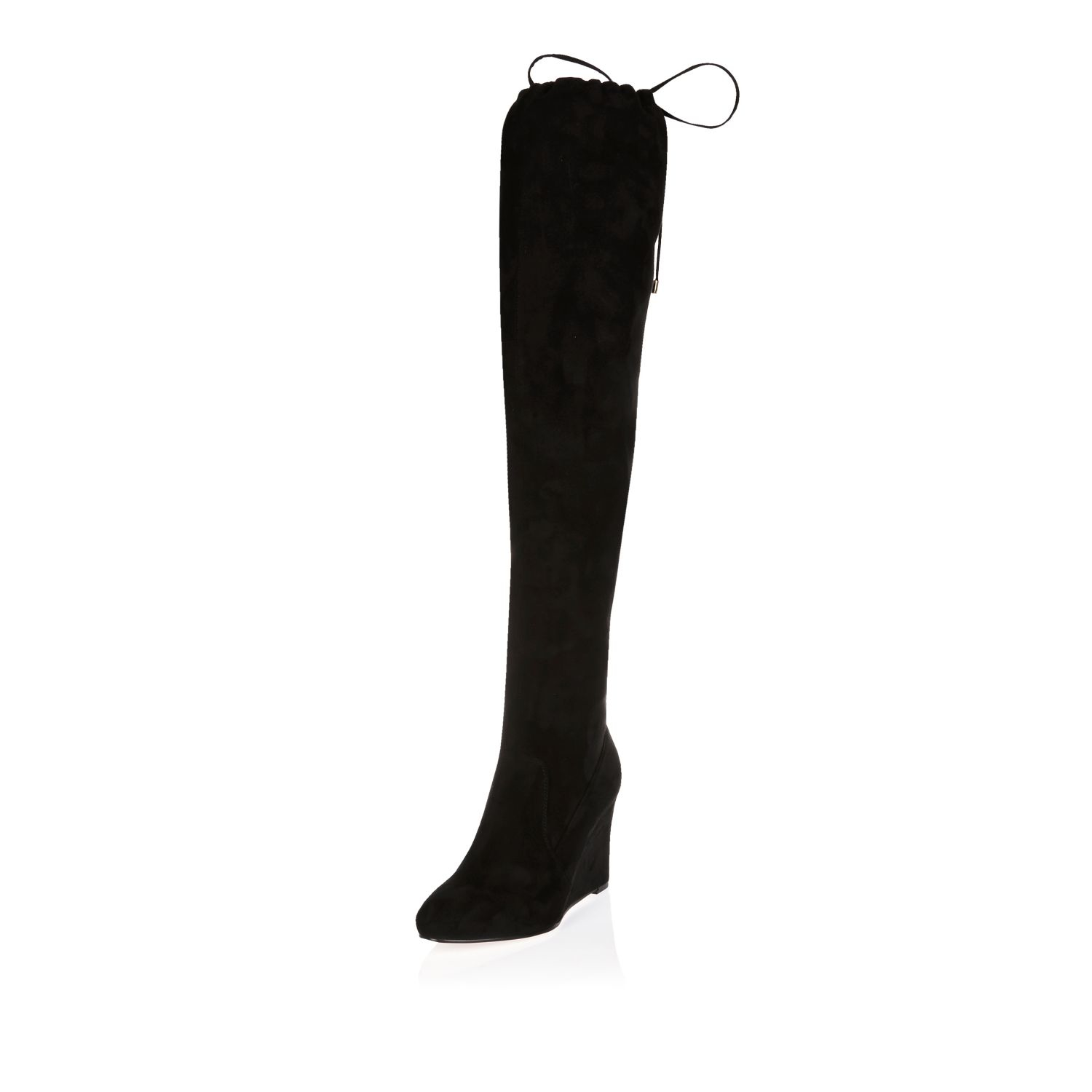 e65a630c27f River Island Black Over The Knee Wedge Boots Black Patchwork Tote ...