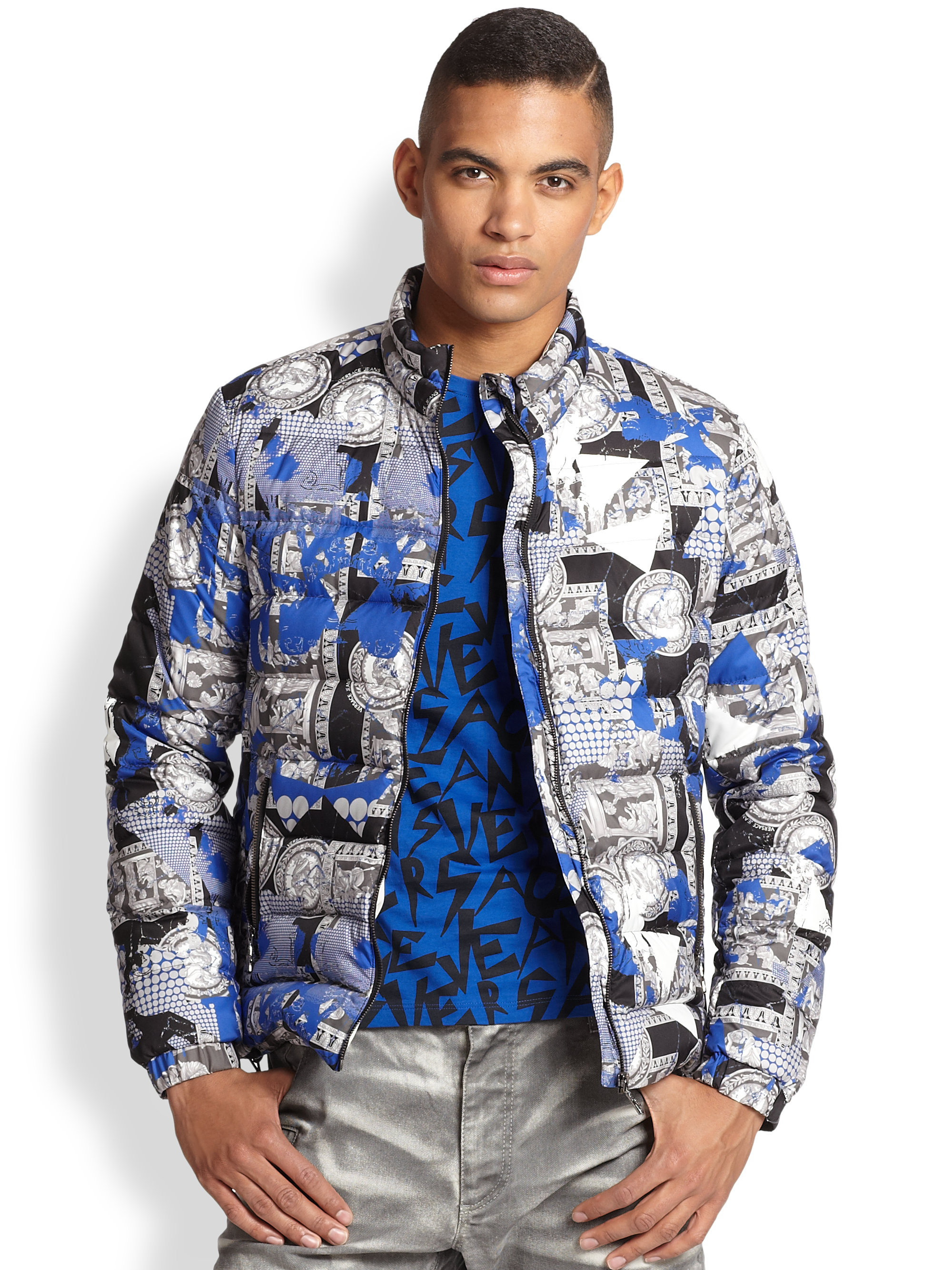 Lyst Versace Jeans Palazzo Print Quilted Jacket For Men