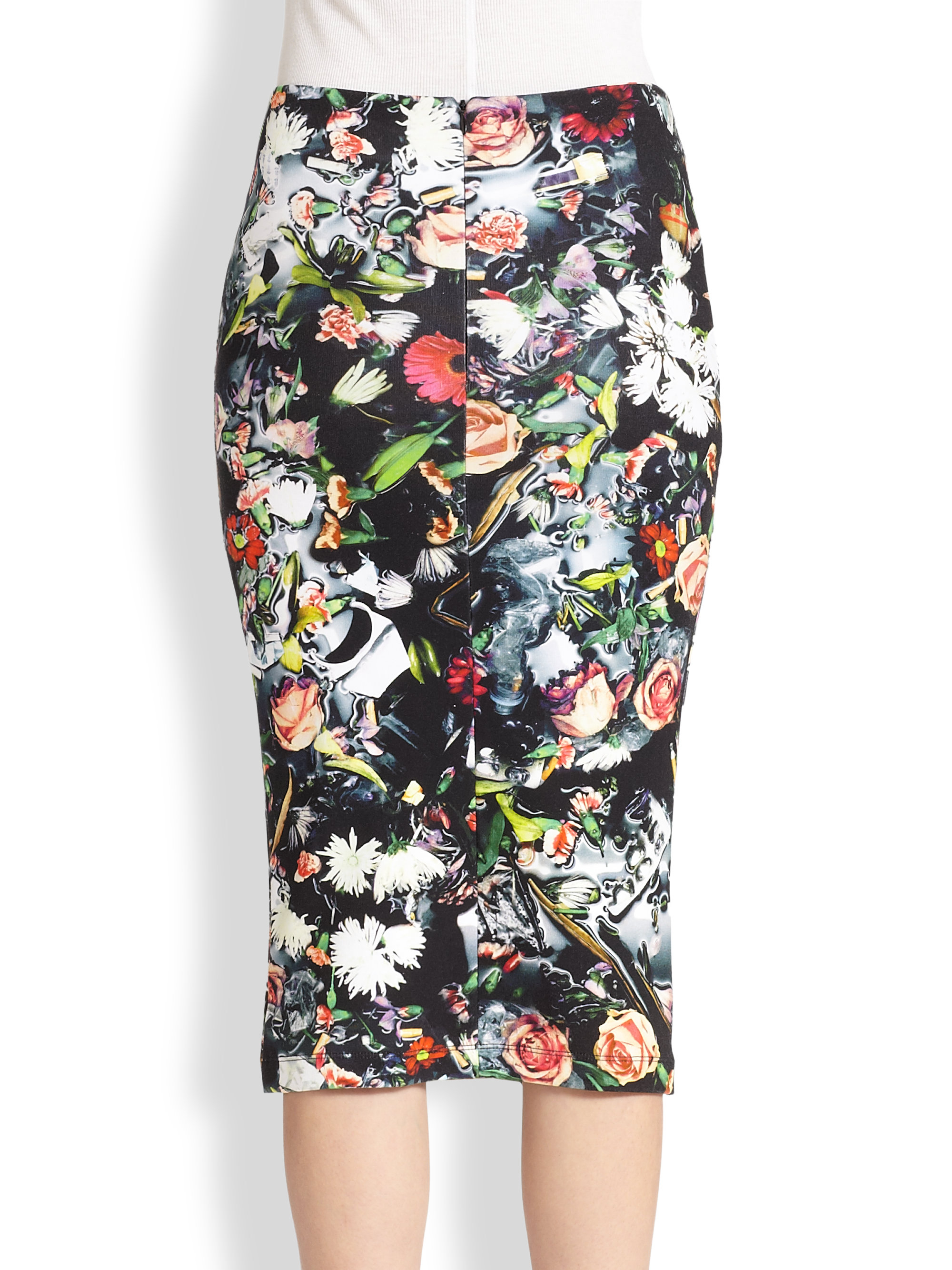 Mcq Floral-Print Stretch Cotton Jersey Pencil Skirt in Black | Lyst