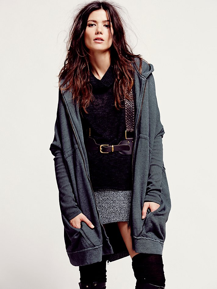 Free people Womens Oversized Zip Hoodie in Black | Lyst