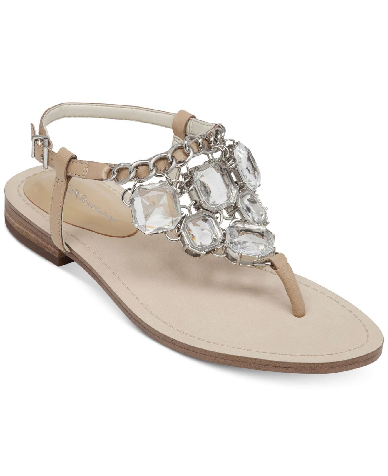 6d7de40c7 Lyst - BCBGeneration Baila Bling Flat Sandals in Natural