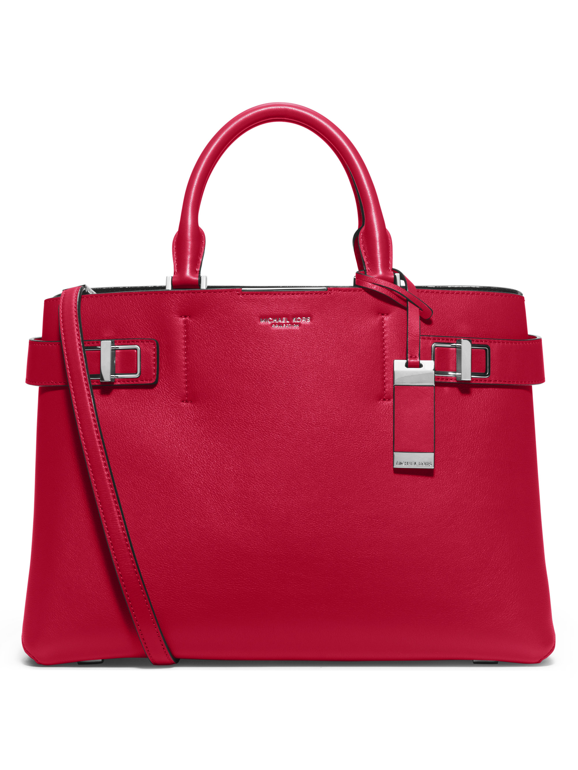 a2e697ac0bb3 Lyst - Michael Kors Bette Medium Leather Satchel in Red
