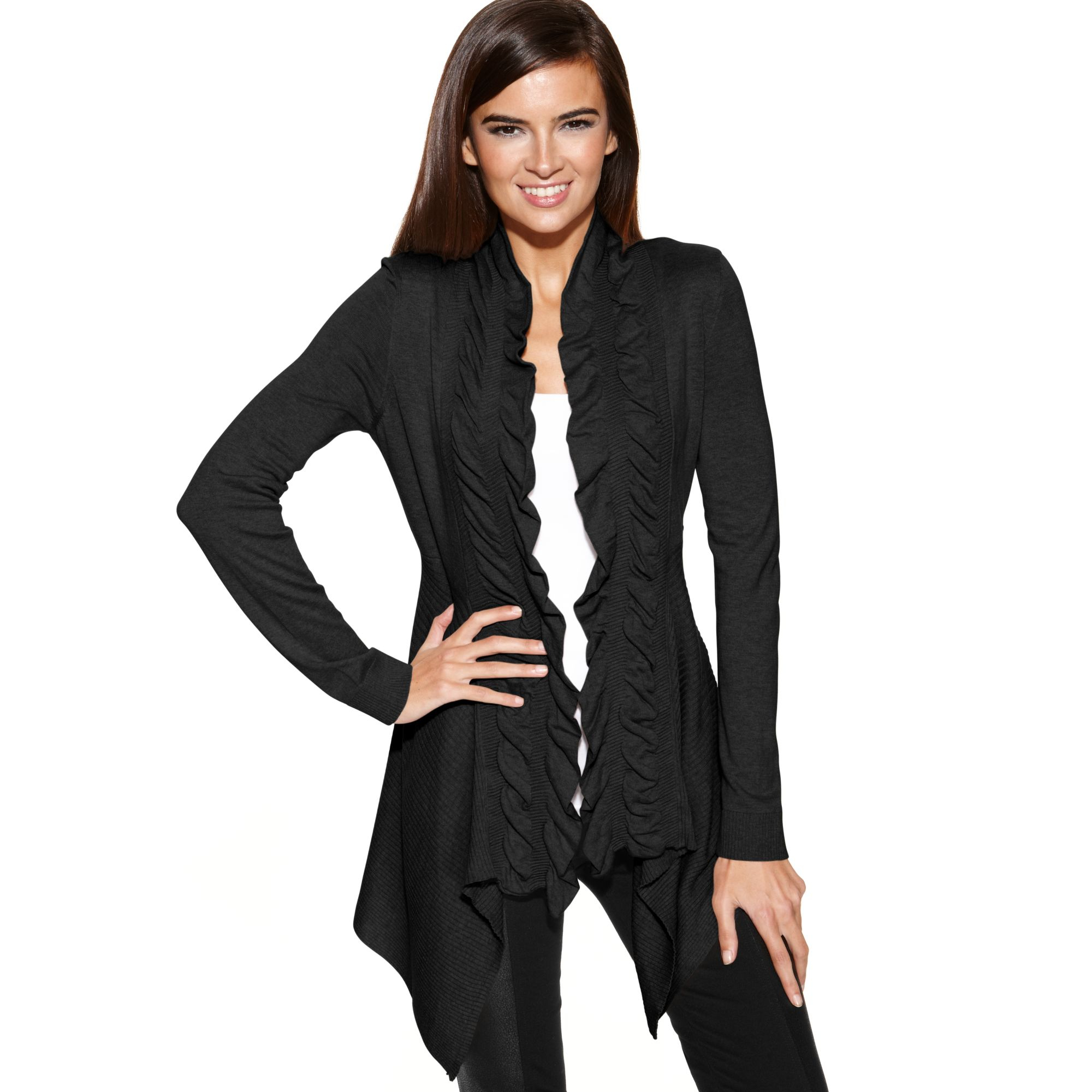 Inc international concepts Ruffle Trim Open Front Cardigan in ...