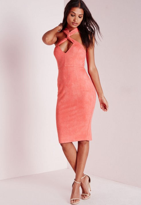 Missguided Suede Cross Front Midi Dress Salmon Pink in Pink  Lyst