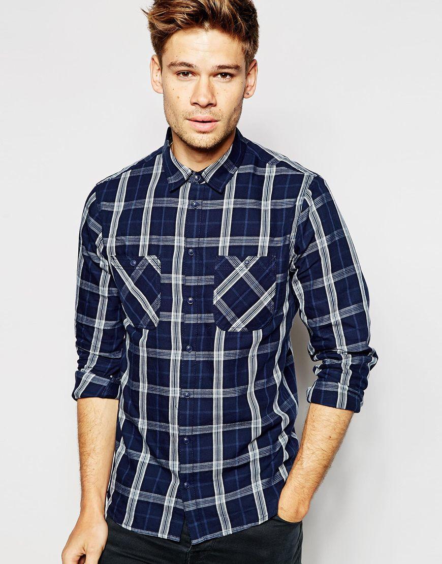 Blend Shirt Slim Fit Large Check In Blue For Men Navy Lyst