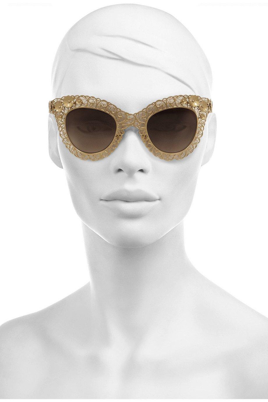 a42c3ad50525 Dolce   gabbana Cat Eye Filigree Goldtone Sunglasses in Metallic