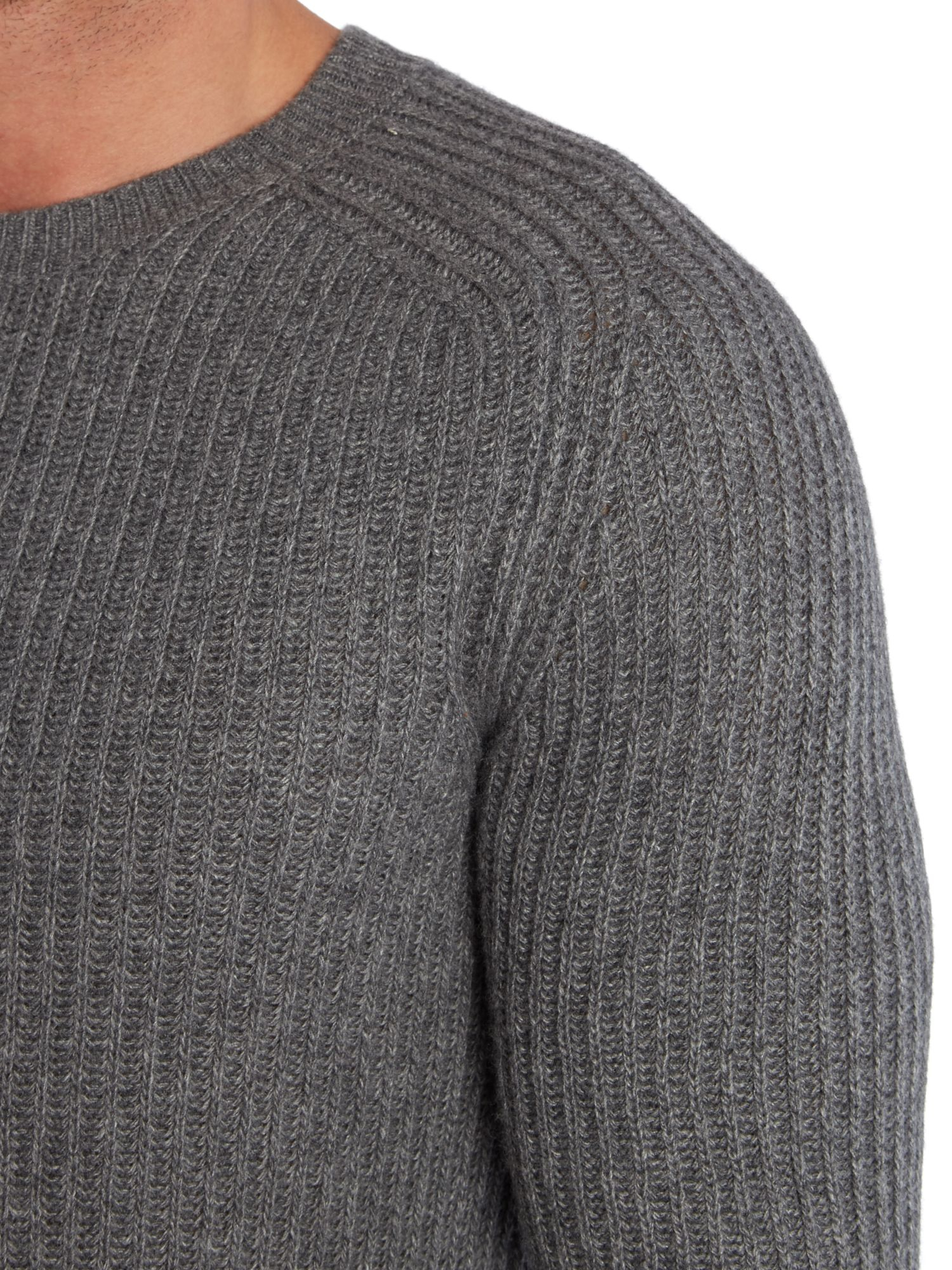 Sisley Ribbed Crew Neck Knitted Jumper In Gray For Men Lyst