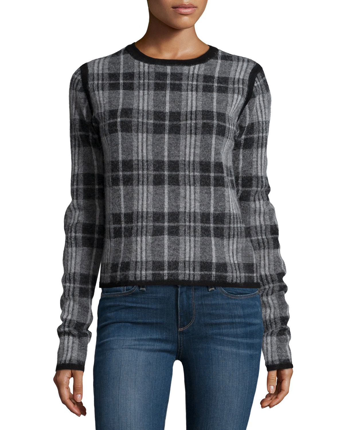 Lyst paige autry long sleeve plaid sweater in gray for Adam lippes women s long sleeve vee t shirt