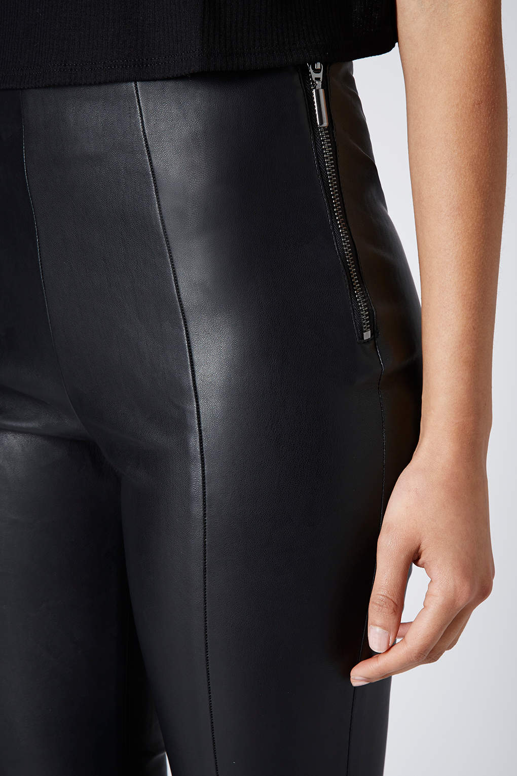 Topshop Super Soft Leather Look Skinny Trousers in Black ...